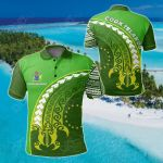 Cook Islands Turtle Polynesian Wave Style All Over Print Polo Shirt