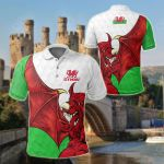 Wales Dragon Wing All Over Print Polo Shirt