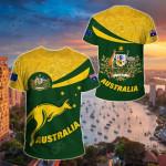 Australia Round Kangaroo Aboriginal Green All Over Print T-shirt