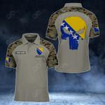 Customize Bosnia And Herzegovina Skull - Camo Style All Over Print Polo Shirt