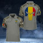 Customize Romania Skull - Camo Style All Over Print Polo Shirt