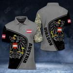 Austria Coat Of Arms & Flag Camo All Over Print Polo Shirt
