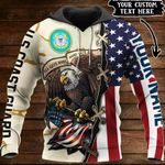 Customize US Coast Guard Veteran All Over Print Hoodies