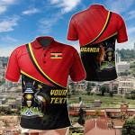 Customize Uganda National Flag All Over Print Polo Shirt