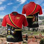 Uganda National Flag All Over Print Polo Shirt