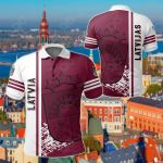 Latvia Quarter Style All Over Print Polo Shirt
