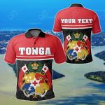 Customize Tonga Coat Of Arms - Dat Style All Over Print Polo Shirt