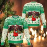 Cymru Christmas Warm Vibes - Beige Green Sweatshirt