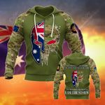Australian Army Skull Camo - Helmet Flag All Over Print Hoodies
