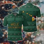 Hawaiian Map Polynesian Mele Kalikimaka Flamingo Christmas All Over Print Polo Shirt