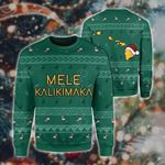 Hawaiian Map Polynesian Mele Kalikimaka Flamingo Christmas Sweatshirt