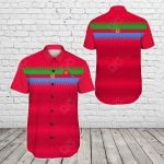 Eritrea United Flag - Red Short Sleeve Linen Button Down Shirt