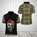 Hungary Skull Camo Helmet Flag All Over Print Polo Shirt