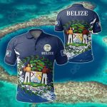 Belize Special - Navy All Over Print Polo Shirt