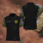 Customize Hellenic Army Symbol Camo - Black All Over Print Polo Shirt