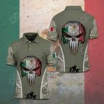 Mexico Flag Skull Camo Soldiers All Over Print Polo Shirt
