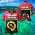 Customize Vanuatu Islands Coat Of Arms - Dat Style All Over Print Polo Shirt