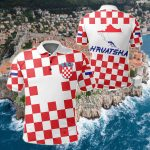 Croatia - Hrvatska Map And Coat Of Arms All Over Print Polo Shirt