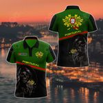 Customize Portugal Coat Of Arms - Reaper All Over Print Polo Shirt