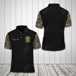 Customize Puerto Rico Coat Of Arms Camo - Black All Over Print Polo Shirt