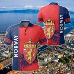 Norway Coat Of Arms Quarter Style All Over Print Polo Shirt