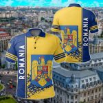 Romania Coat Of Arms Quarter Style Ver 2 All Over Print Polo Shirt