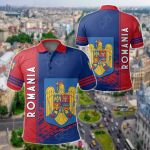 Romania Coat Of Arms Quarter Style All Over Print Polo Shirt