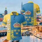 Sweden Coat Of Arms Quarter Style All Over Print Polo Shirt
