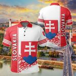 Slovakia Coat Of Arms Quarter Style All Over Print Polo Shirt