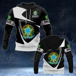 Customize Brazil Coat Of Arms - Flag V2 All Over Print Hoodies