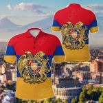 Armenia Coat Of Arms Flag Pattern All Over Print Polo Shirt