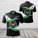 Djibouti Black All Over Print Polo Shirt