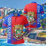 Puerto Rico Coat Of Arms Quarter Style All Over Print Polo Shirt