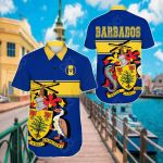 Barbados Version Coat Of Arms Short Sleeve Linen Button Down Shirt