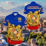 Armenia Special - Blue Version Short Sleeve Linen Button Down Shirt