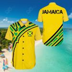 Jamaica Vintage Flag Short Sleeve Linen Button Down Shirt