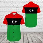 Libya Original Flag Short Sleeve Linen Button Down Shirt