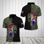 Croatia Coat Of Arms Skull Helmet Camo All Over Print Polo Shirt