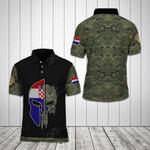 Croatian Army Skull Helmet Camo All Over Print Polo Shirt