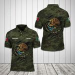 (Custom) Mexico Coat Of Arms - Camo All Over Print Polo Shirt