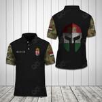 Customize Hungarian Army Camo Helmet All Over Print Polo Shirt