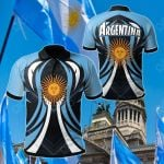 Argentina Flag Color Line Style All Over Print Polo Shirt