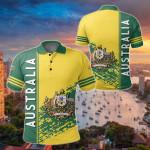 Australia Coat Of Arms Quarter Style All Over Print Polo Shirt