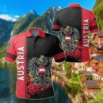 Austria Coat Of Arms Quarter Style All Over Print Polo Shirt
