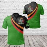 Zambia Flag And Coat Of Arms All Over Print Polo Shirt