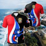Puerto Rico Flag Coqui Frog All Over Print Polo Shirt