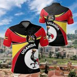 Uganda Round Coat Of Arms All Over Print Polo Shirt