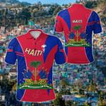 Coat Of Arms Haiti Circle Stripes All Over Print Polo Shirt