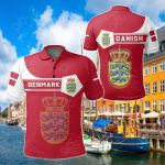 Denmark Coat Of Arms Simple Style All Over Print Polo Shirt
