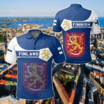 Finland Coat Of Arms Simple Style All Over Print Polo Shirt